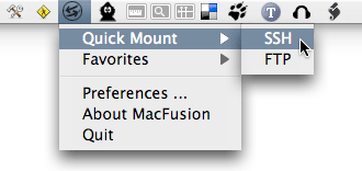 MacFusion Menu Bar Item